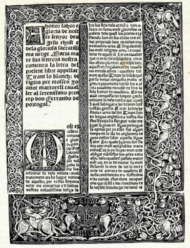 Primera edició de Tirant lo Blanc (València, 1490)