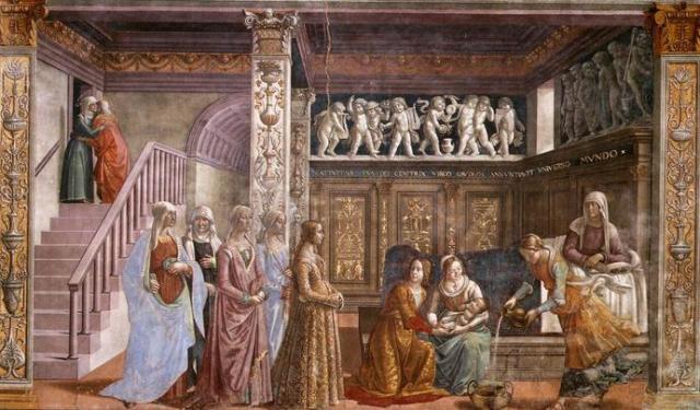 Naixement de la Marede Déu, capella Tornabuoni